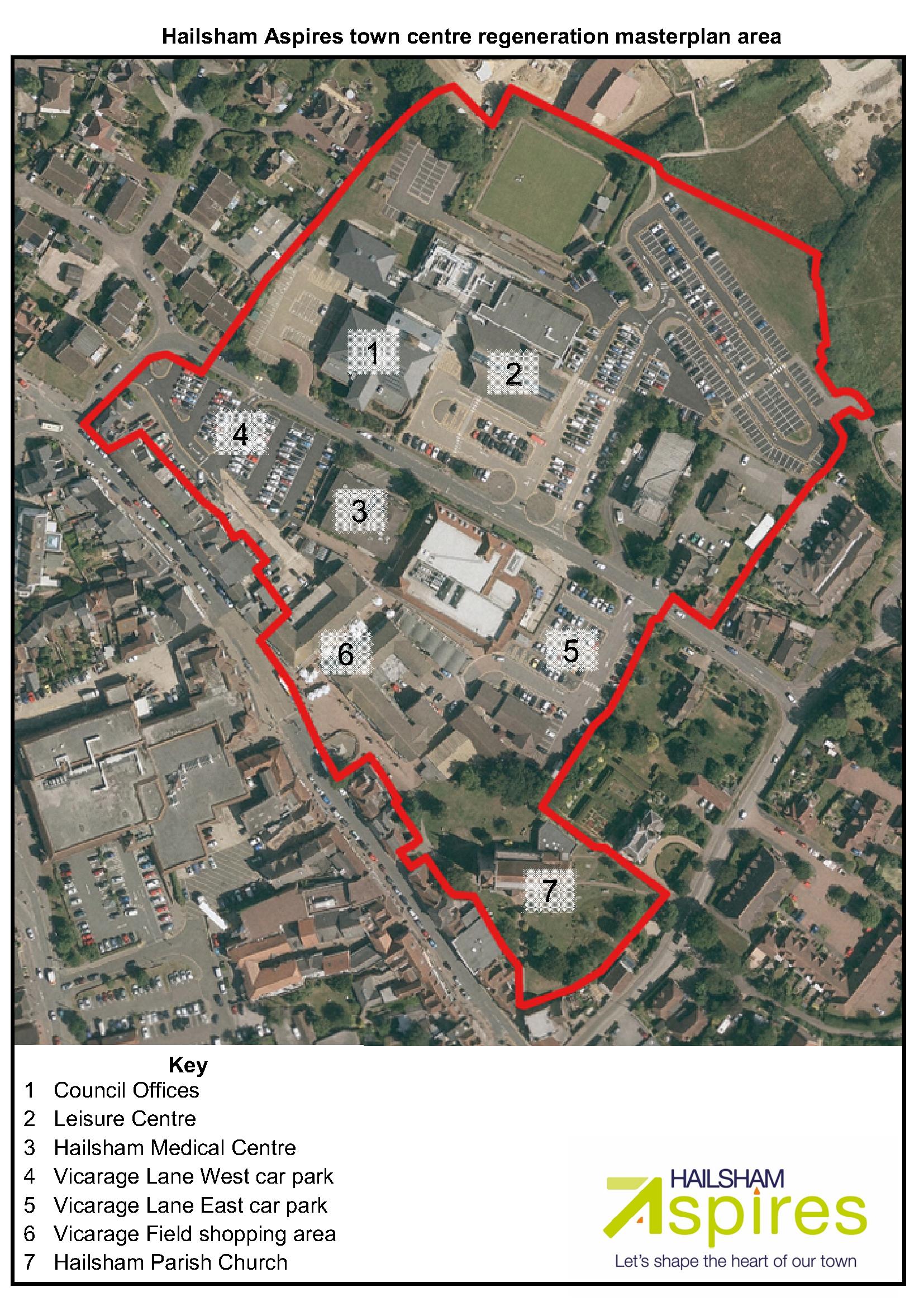 Ariel view of Hailsham Aspires town centre regeneration masterplan area